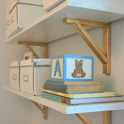 gold shelving brackets