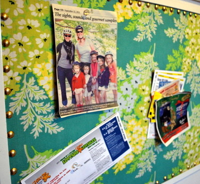 a fabric covered corkboard