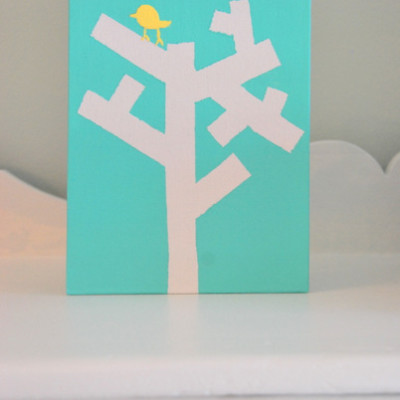 a tree canvas made with tape