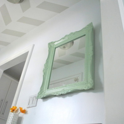 painted mint mirror