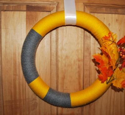 an autumn yarn wreath