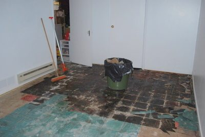 Basement reno: ripping up carpet and tile