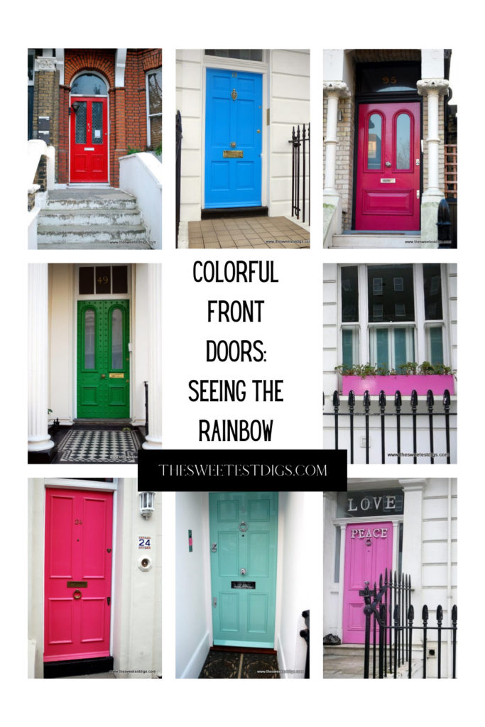 Collage images of colorful front doors.