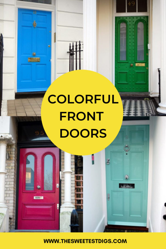 Collage images of colorful front doors with text overlay.