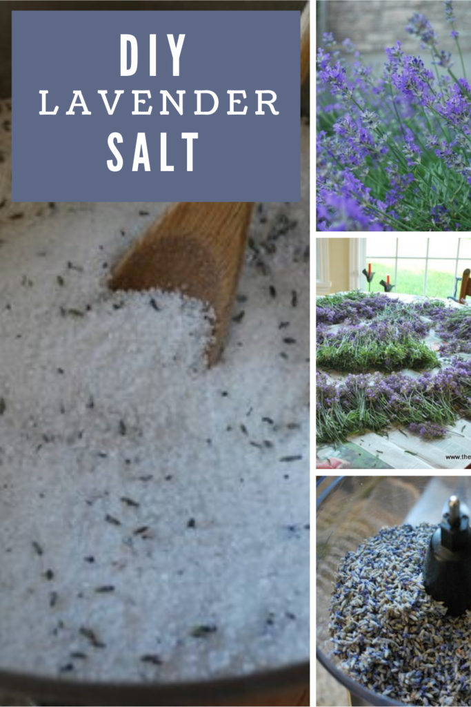 Collage of lavender and salt with text overlay.