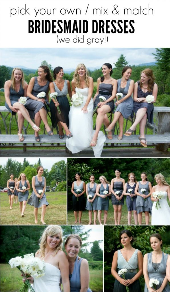 pick your own gray bridesmaid dresses for a mix and match look - via the sweetest digs