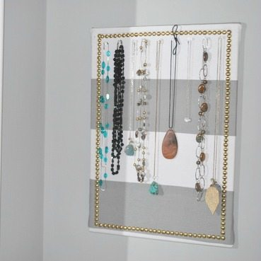 fabric bulletin board necklace holder-square