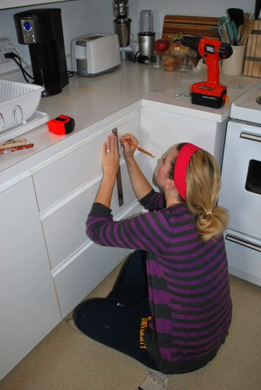 Updating Oak Strip Cabinets with New Hardware