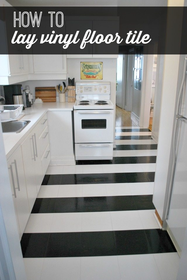 Black And White Striped Vinyl Floor Tile