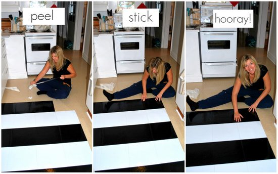 Black And White Kitchen Vinyl Flooring how to lay vinyl black and white flooring (in stripes!) - the