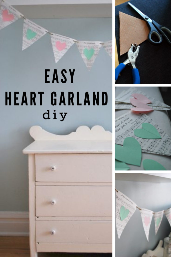 Collage images of heart garland with text overlay.