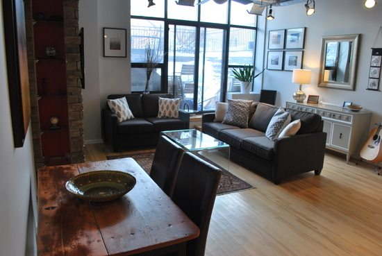 Industrial Condo Makeover Living Room Reveal The