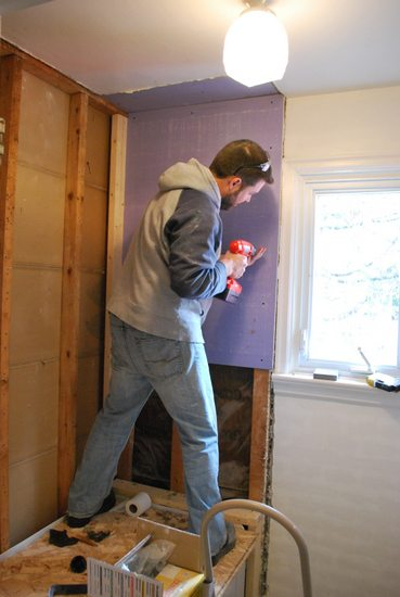 Project bathroom tiling the sweetest digs - Tiling a bathroom wall on drywall ...