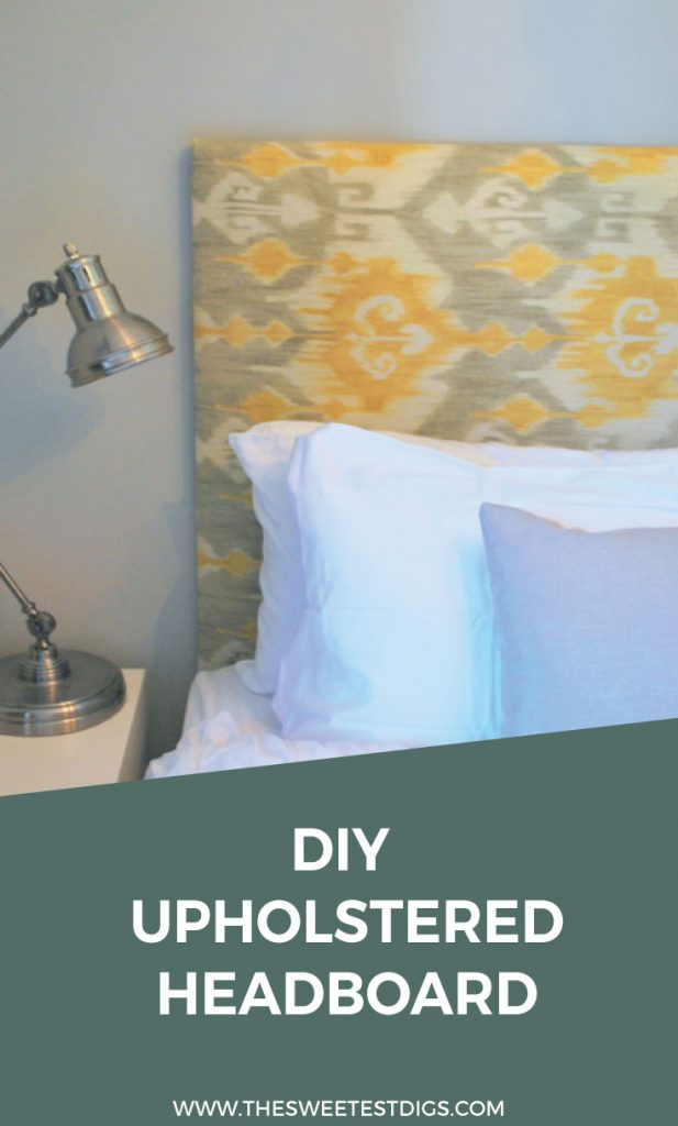 Want to decorate your bedroom? Make this DIY headboard with any fabric you like! It's super easy and having an upholstered headboard all of a sudden makes your bedroom look amazing. Oh, and it's pretty cheap - less than $100! Click through for the full tutorial and source list.
