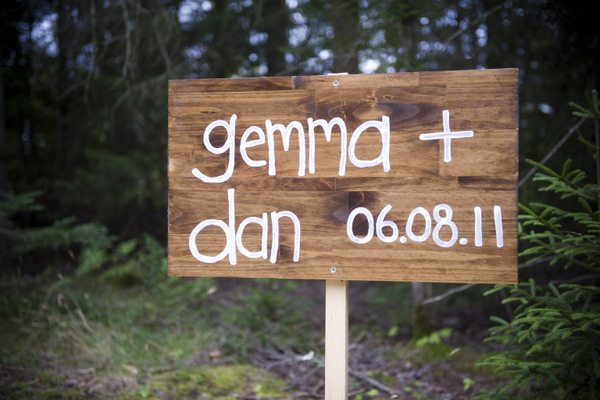 DIY wedding sign posts