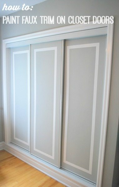 Painted Sliding Closet Doors: Faux Trim Effect