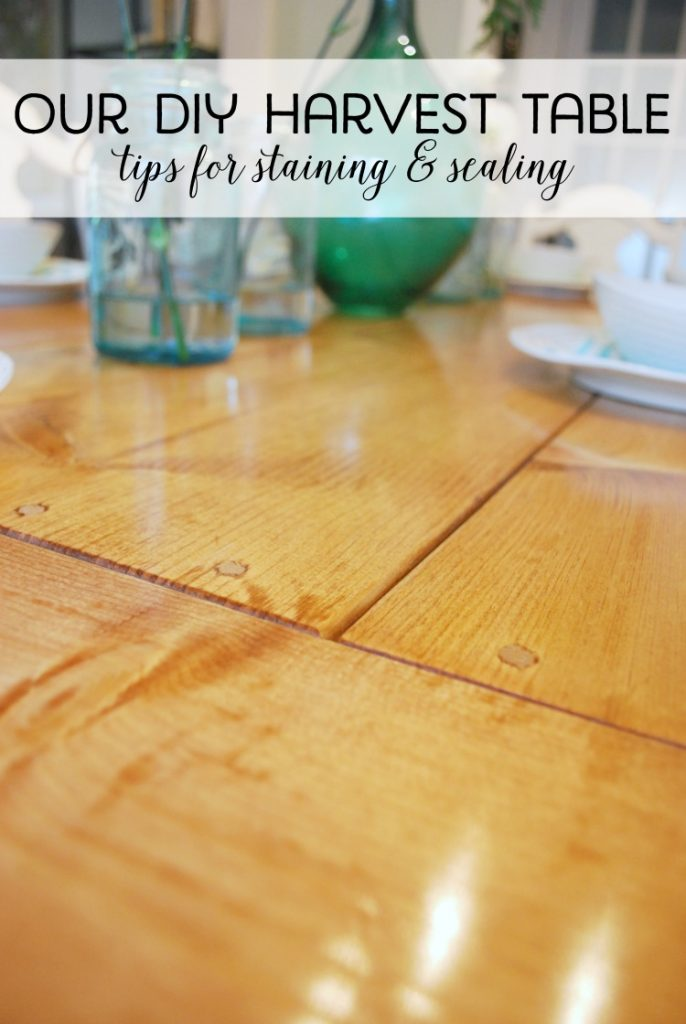 Building Our DIY Harvest Table   How We Sanded, Stained, And Sealed It