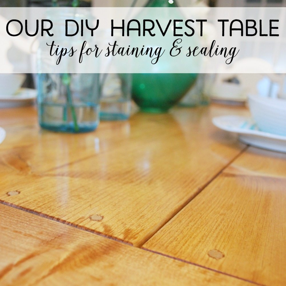 Building our DIY harvest table - How we sanded, stained, and sealed it