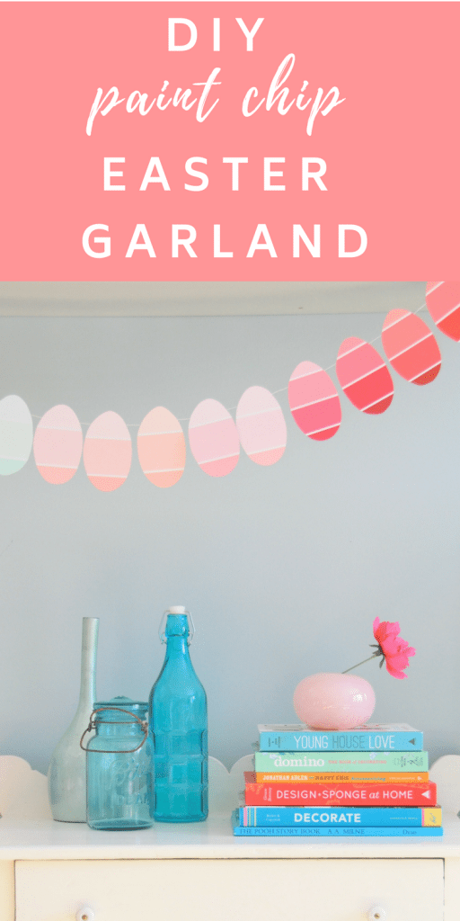 How to make a DIY Easter Egg Garland with #paintchips!! Easy easter craft to do with the kids.