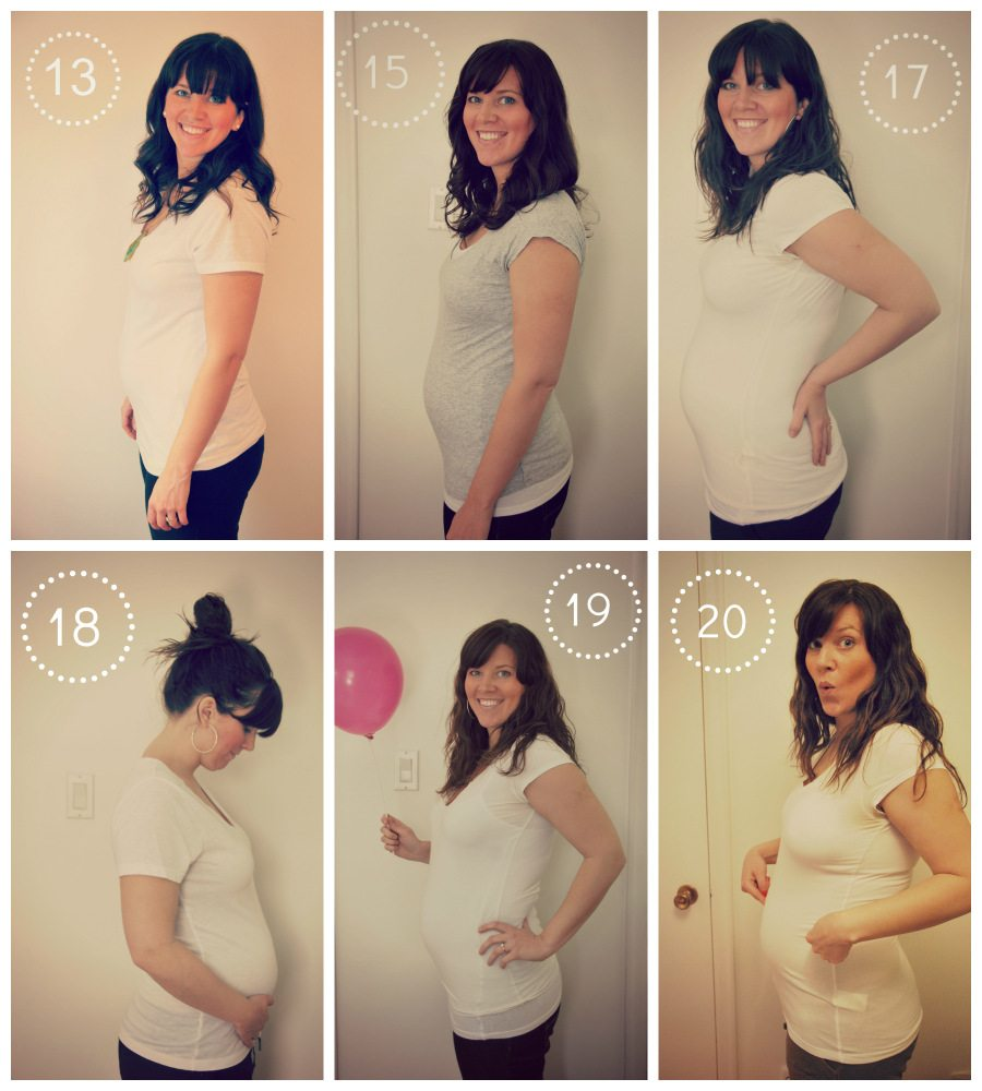 pregnancy collage - weeks 13 to 20