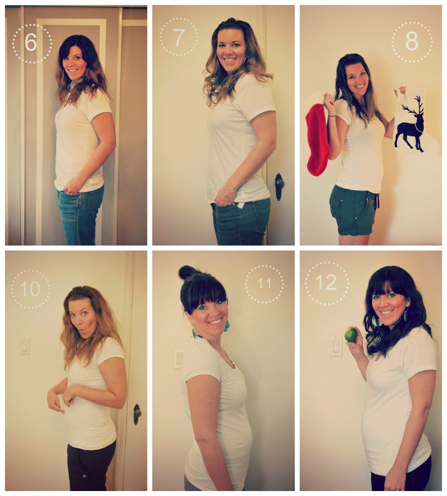 pregnancy collage - weeks 6 to 12