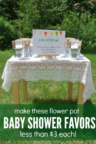 DIY flower pot baby shower favors - via the sweetest digs