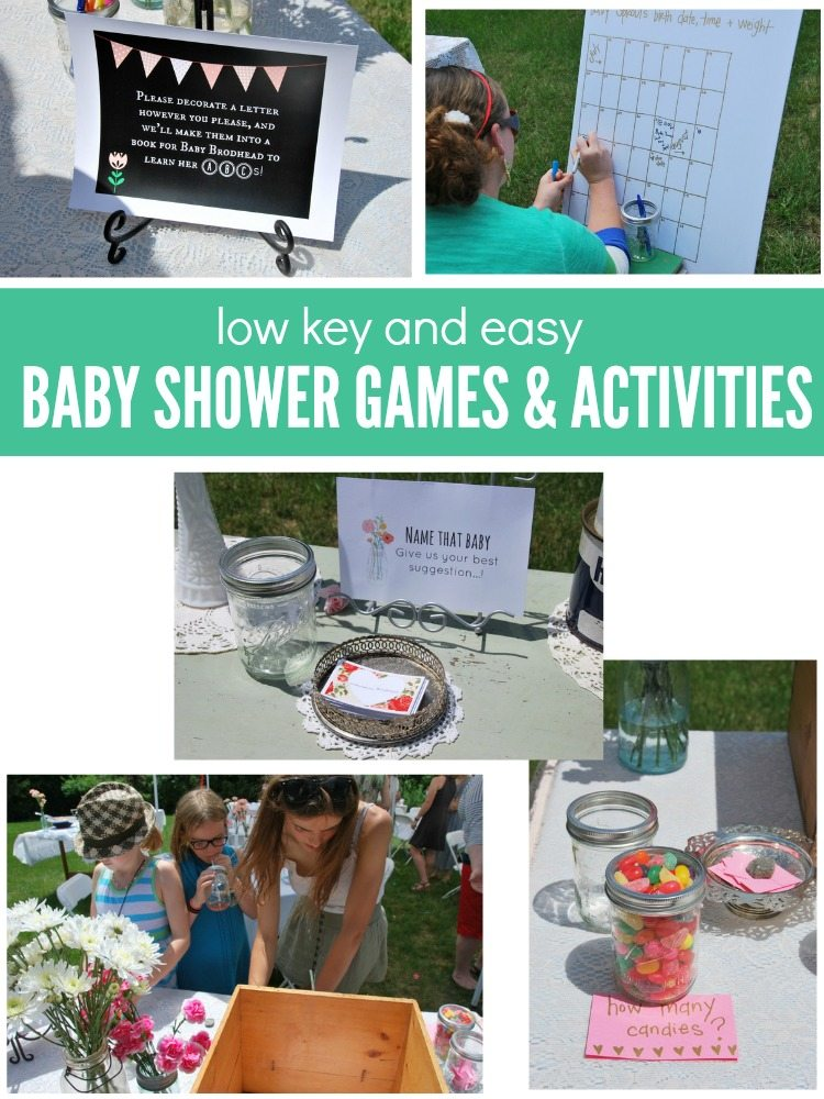 low key baby shower games and activities - via the sweetest digs
