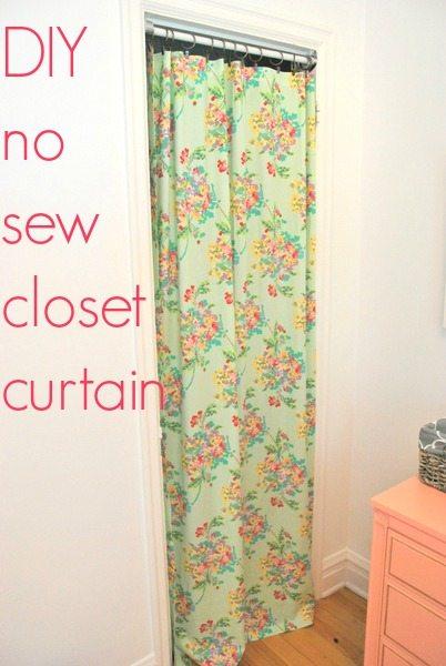 no sew closet curtain