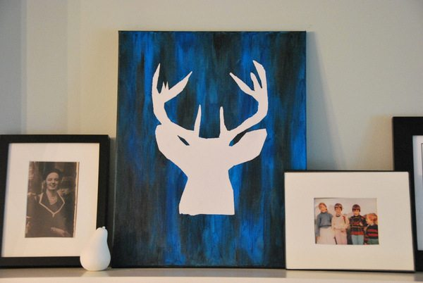a DIY deer silhouette canvas
