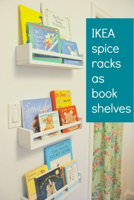 How To Use IKEA Spice Racks For Books Or The Easiest DIY Wall - Wall bookshelves for nursery