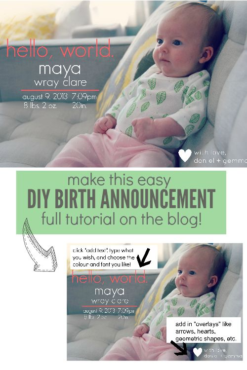 How To Make a DIY Birth Announcement the sweetest digs – Diy Birth Announcements