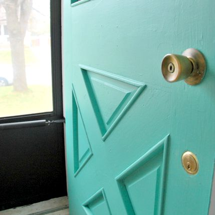 turquoise front door - square