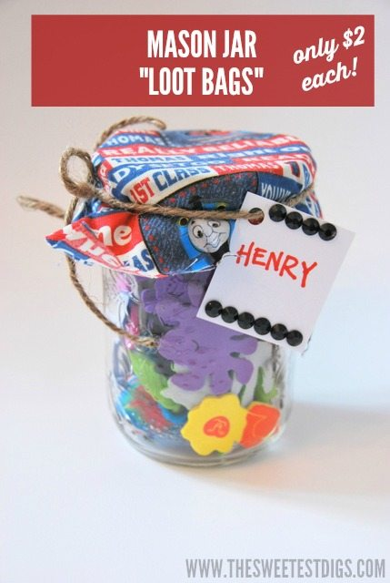 DIY mason jar loot bags for only $2 each - via the sweetest digs