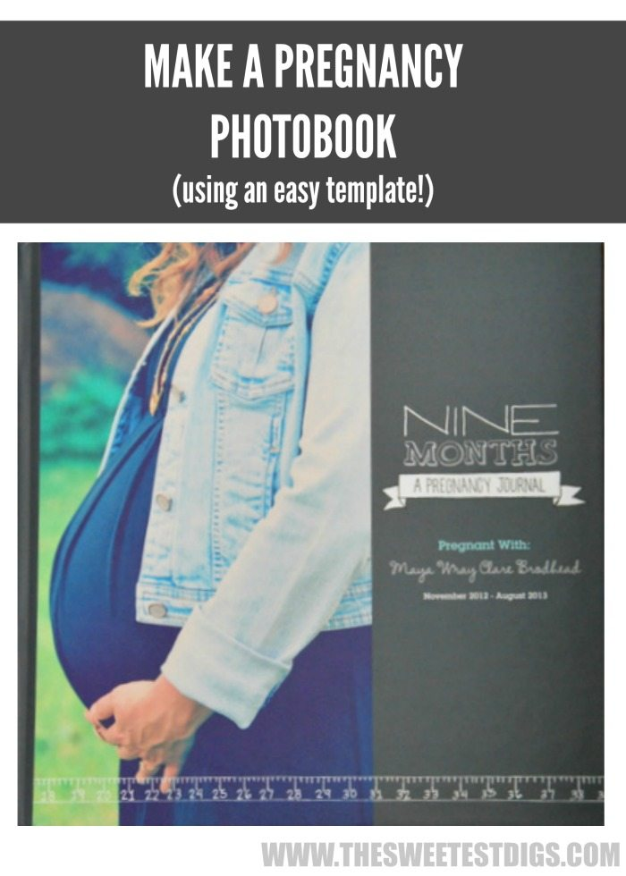 DIY pregnancy photobook using shutterfly - via the sweetest digs