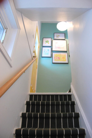stair runner using IKEA rugs