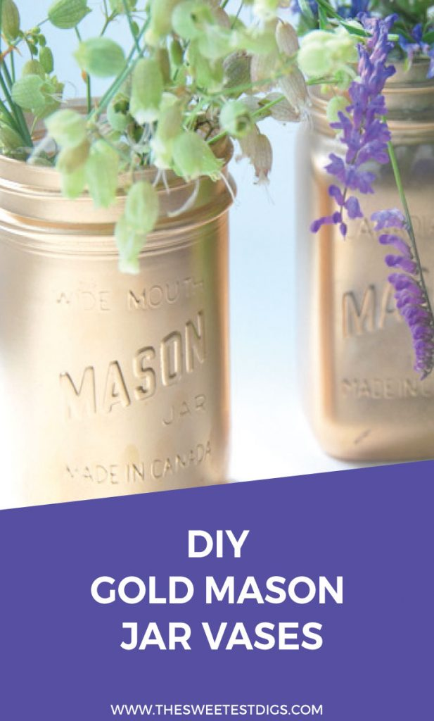 Need to make some DIY vases for wedding decor or a party? Make these gorgeous spray painted gold mason jars. So budget friendly and it looks totally glam! Click through for the full tutorial.