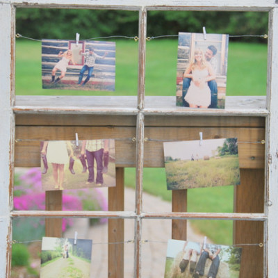 upcycled window turned picture frame