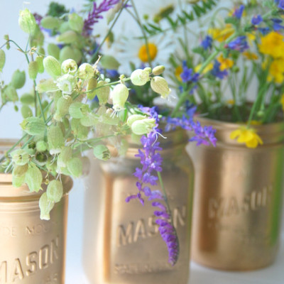 gold spray painted mason jars