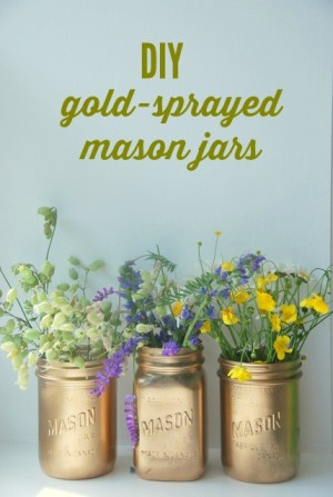 gold sprayed mason jars