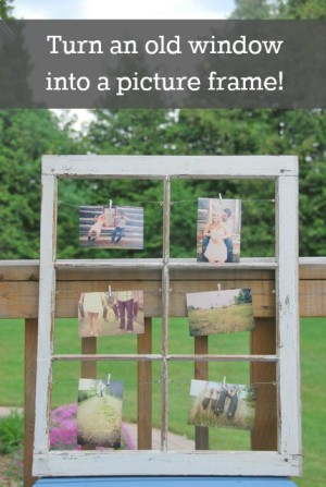 vintage window turned picture frame