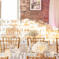 glitzy gold, pink, and ivory wedding