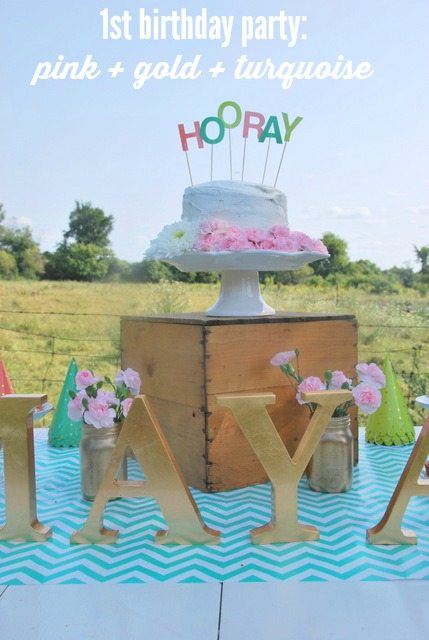 first birthday party - pink gold turquoise