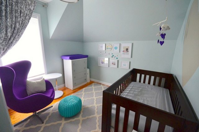 Blue And Purple Nursery Decor For A Baby Via The Sweetest Digs