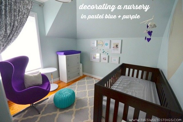 decorating a nursery in pastel blue and purple - via the sweetest digs