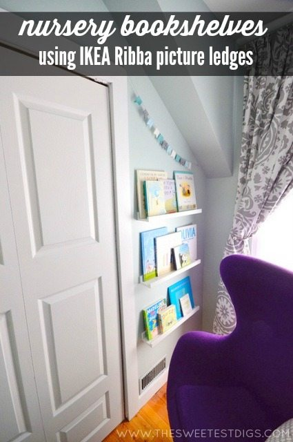 nursery bookshelves using IKEA Ribba picture ledges via the sweetest digs