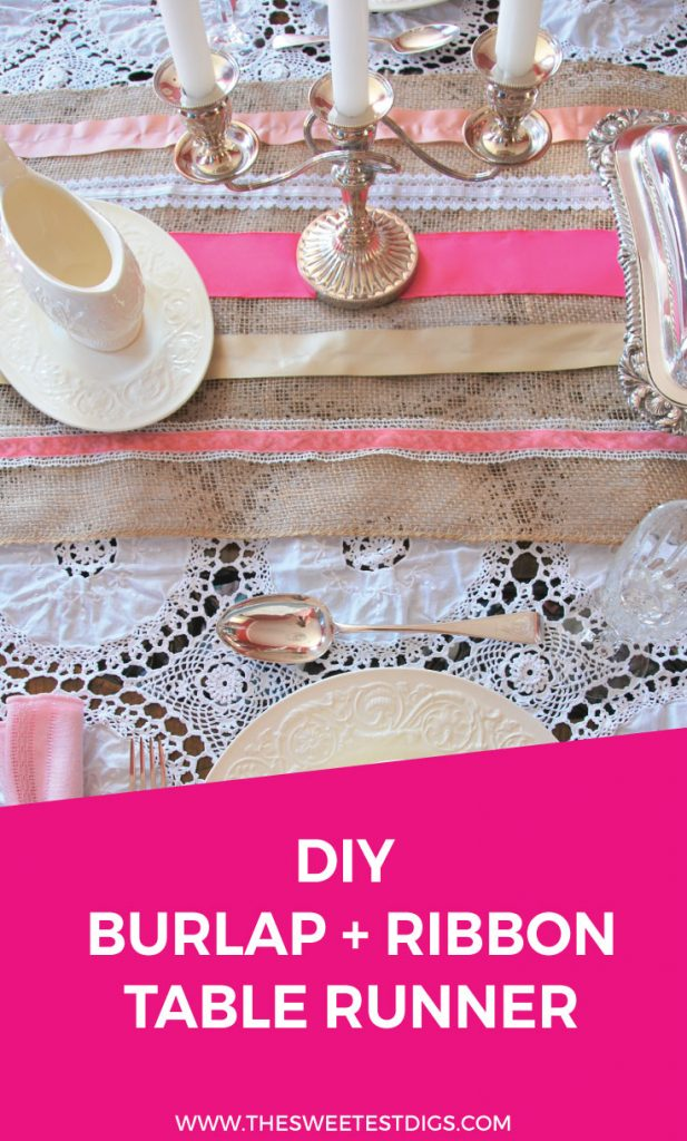 Want to make a DIY table runner? Try this sweet one using ribbon and burlap. It has that perfect glam meets rustic farmhouse look. Perfect for a dinner party, wedding, or other event! Oh and did I mention it's a no-sew? Click through for the full tutorial!