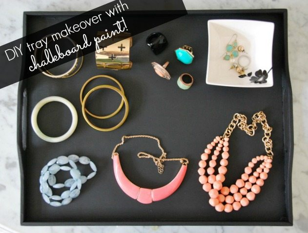DIY jewellery tray makeover with chalkboard paint