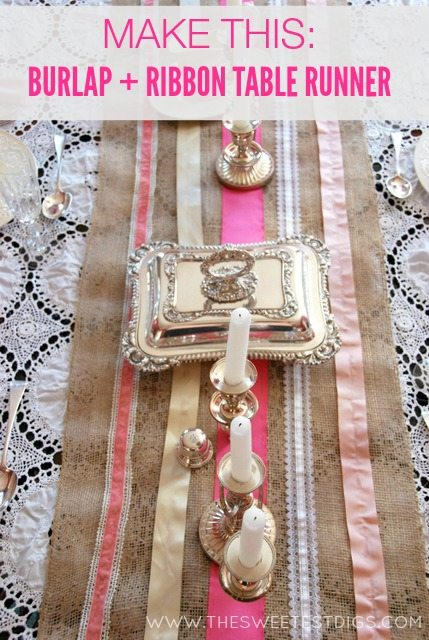 burlap and ribbon DIY table runner - the sweetest digs