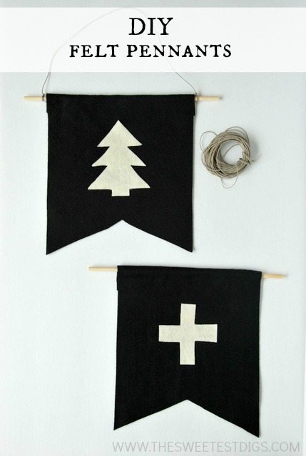 DIY christmas and swiss cross felt pennants - super cute and easy to make - via the sweetest digs