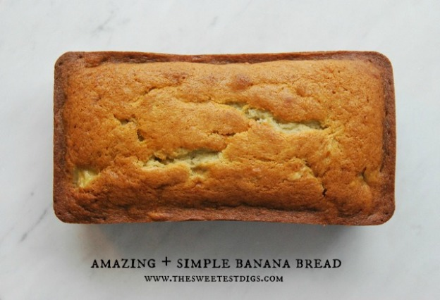 simple banana bread recipe with sour cream via the sweetest digs blog